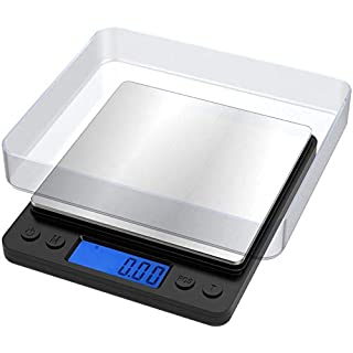 Ascher 500g Digital Kitchen Scale, 500g 0.01g Mini Pocket Jewelry Scale, Cooking Food Scale with Back-Lit LCD Display, Auto Off, Tare, PCS, Stainless Steel (Batteries Included)