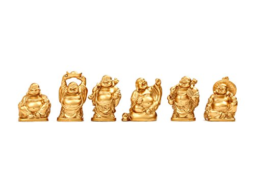 Feng Shui 2'' Golden Resin Laughing Buddha Statue Figurines Set of 6 (Golden Set Figurine)