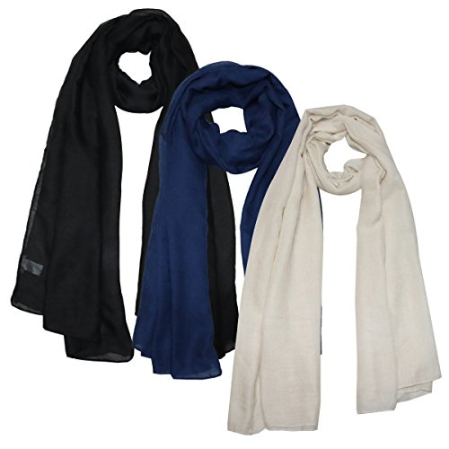 Same Pattern Different Quality 2018 New Developed Material 3 Packs Super Soft Lightweight Plain Oblong Scarf For Women Wear As Beach Cover Up Wrap - Scarf New Womens