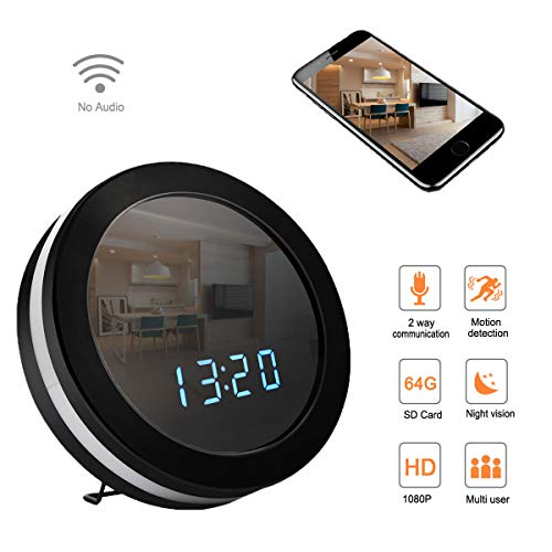 Seahon WiFi Hidden Spy Alarm Clock Camera Home Security Monitoring Nanny Cam with 140°Angle/8 Hours Recording/128G External Capacity/Motion Detection/Night Vision/Remote View/1080P(Video Only)