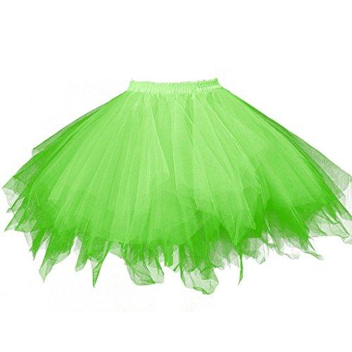 BIFINI Adult Women 80's Tutu Skirt Layered Tulle Petticoat Halloween Tutu Green ()