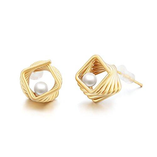 Ohrstecker Ohrringe Damen - Die Form der Nest - Natürliche Schale Perle