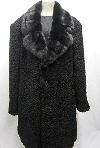 Men's Persian Lamb Fur Coat & Mink Fur Collar (Black, Gray, Other)