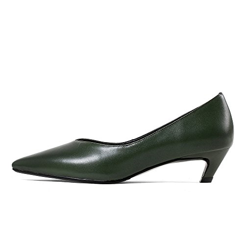 Work Business Toe Handmade Women's Genuine Nine Shoes Heel Dark Green Pumps Leather Basic Seven Chunky Pointed ppPq8x