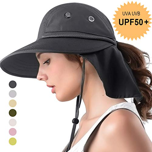camptrace Safari Sun Hat Wide Brim Fishing Hat with Neck Flap for Women Ponytail Packable UPS UPF 50+ for Hiking Camping (D Grey, One Size) ()