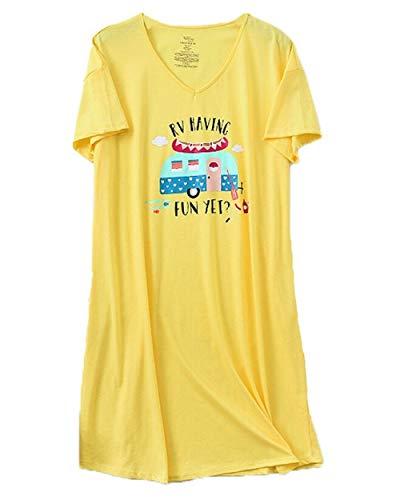 PNAEONG Women's Cotton Nightgown Casual Nights Sleepwear Short Sleeves Print Sleepshirt XTSY001-Yellow Bus-L