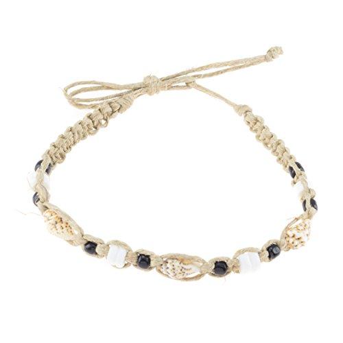 BlueRica Hemp Anklet Bracelet with Tiger Nassa, Puka Shells and Black Beads