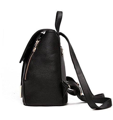 Fashion for Knapsack PU Shoulder Girls Bag Travel JHNIF Women Backpack Leather Bags Ladies Rucksack Black Casual bag SxU7CqAwd