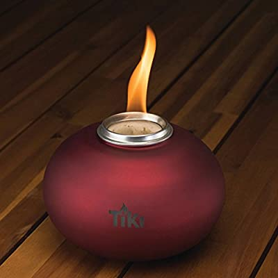 TIKI Brand Clean Burn Pearl of the Sea Tabletop Firepiece, Red