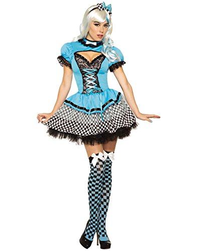 Forum Women's Alice Fairy Tale Deluxe Costume with Corset-Style Dress, Blue/Black, (Halloween Corset Costumes 2017)