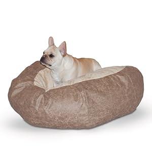 B00CLA0ZVGRK0 K&H Manufacturing Self Warming Distress Cuddle Ball Bed for Dogs, Medium, Tan