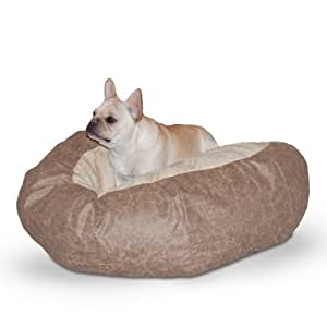 K&H Manufacturing Self Warming Distress Cuddle Ball Bed for Dogs, Medium, Tan