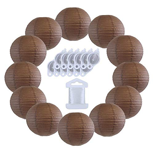 Slate Pinwheel - Just Artifacts 12inch Decorative Round Chinese Paper Lanterns 10pcs w/ 12pc LED Lights and Clear String (Color: Slate Brown)