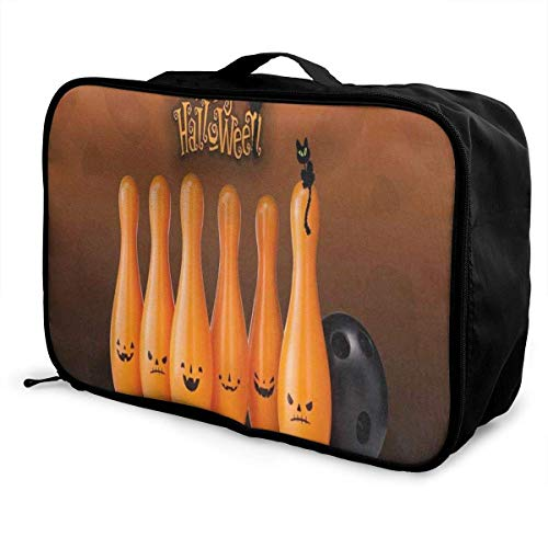 Travel Bags Happy Halloween Cat Bowling Portable Suitcase Trolley Handle Luggage -