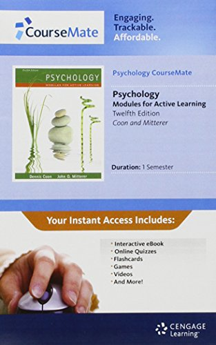 Psychology CourseMate with eBook Printed Access Card for Coon/Mitterer's Psychology: Modules for Active Learning, 12th
