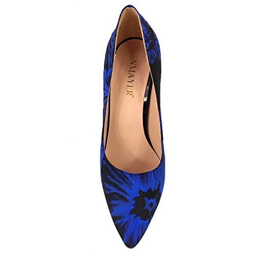 Wedding Printing Shoes Pointed Women Heels Ofice 10BMUS Pumps Toe Party High Material Blue ENMAYER Lady vFx1wff