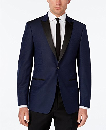 Calvin Klein Slim Fit Navy Textured One Button New Men's Sport Coat (44 Regular)