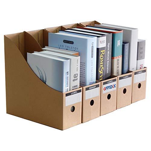 OFFIDIX Office Desktop Organizer,Kraft Paper File Holder Desktop Storage Box with Sticker DIY Paper Container/ A4 Document Holde,5pcs Paper Organizer for Home Office Desk ()