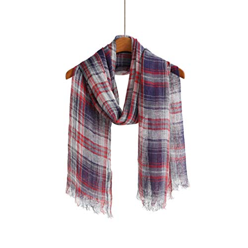 100% Pure Linen Scarf/Shawl/Wrap For Men and Women Scarves Beach Wraps (Linen Blue Red Plaid)