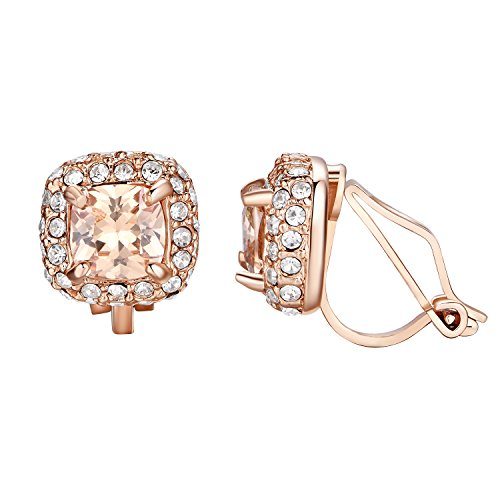 Yoursfs Wedding Clip on Earrings Chic Square Shape Non Pierced Earrings for bridal