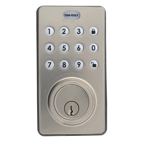 Tru-Bolt Electronic Deadbolt with Push button keypad and remote - Satin Nickel Finsih