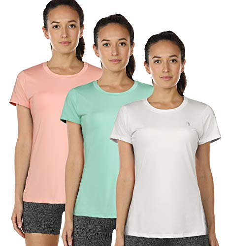 icyzone Workout Running Tshirts for Women - Fitness Athletic Yoga Tops Exercise Gym Shirts (Pack of 3) (M, White/Pale Blush/Brook Green)