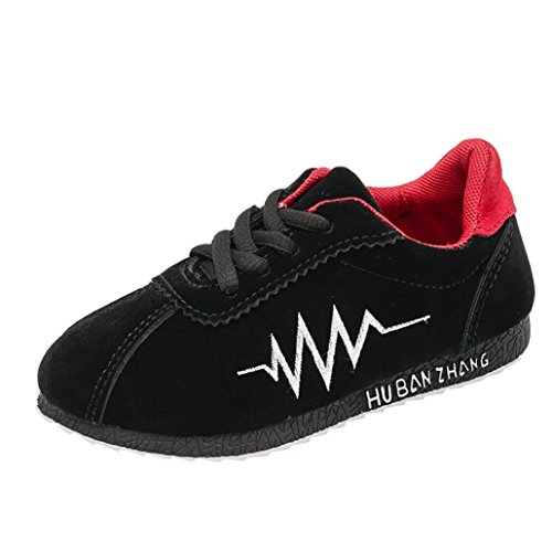 Amanod Children Kid Infant Solid Electrocardiogram Letter Leather Sneaker Single Shoes - Dyeable Childrens Shoes
