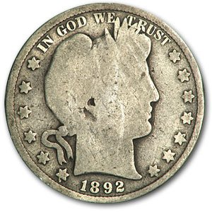 1892 Barber Half Dollar AG Half Dollar About Good