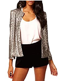LEISHOP Women's Sequin Fitted Long Sleeve Blazer Bomber Jacket Coats