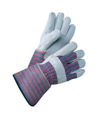 Radnor® X-Large Select Shoulder Grade Split Leather Palm Gloves With Rubberized Gauntlet Cuff, Striped Canvas Back And Reinforced Knuckle Strap, Pull Tab, Index Finger And Fingertips