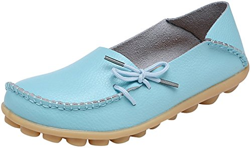 Fangsto Women's Soft Cowhide Leather Loafer Flat Shoes Slip-Ons Sty-1 Baby Blue