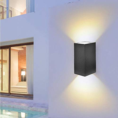 - Calmson GU10 LED Wall Light Double Head Wall Lamp,Outdoor Square Wall Lantern, in Black Finish