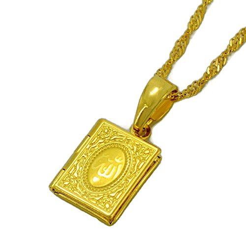 Islam Small DIY Photo Box Necklaces Quran Shape Allah Arabic Name Pendant Gold Color Muslim Jewelry Gift