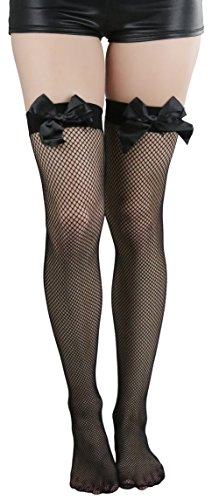 - ToBeInStyle Women's Fishnet Thigh High With Satin Bow Stockings Tights Hosiery - Black With Black Bow - One Size: Regular