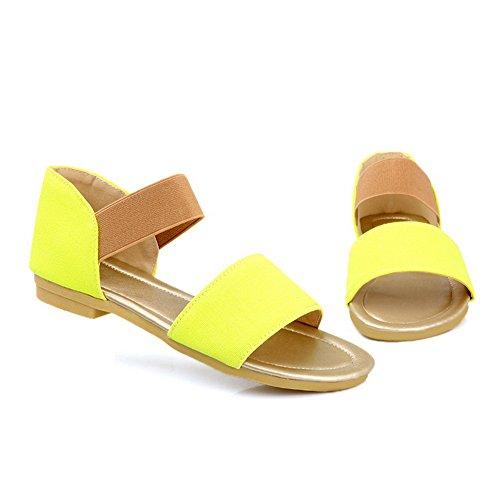 VogueZone009 Womens Open Toe Low Heel Frosted PU Solid Sandals Yellow jraZwSO