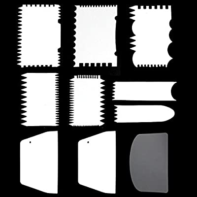 Tomnk 10PCS Cake Scraper Cake Edge Decorating Tool Scrappers Cutters Smoother Tool Set