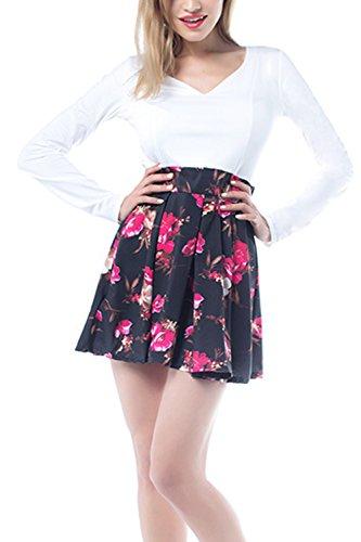 Colorblock Floral impresión Mini vestido de fiesta de las mujeres White