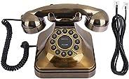 Teléfono Antiguo, Decoración de Teléfono Fijo Retro de Moda Antigua con Cable, Teléfono de Escritorio con Tono
