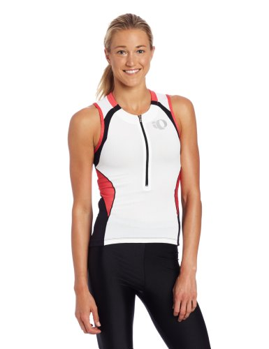 (Pearl Izumi Women's Elite In-R-Cool Tri Sleeveless Jersey White/Paradise Pink Small)