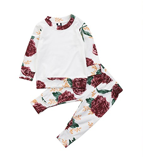 Ma&Baby Newborn Baby Girls Clothes Flower White Tops Floral Pants 2Pcs Outfits Set (0-6 Months, White)