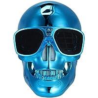 BeatlesStore(Blue) Hot Sell New Portable Metal Skull Glasses Wireless Bluetooth Super Bass Speaker