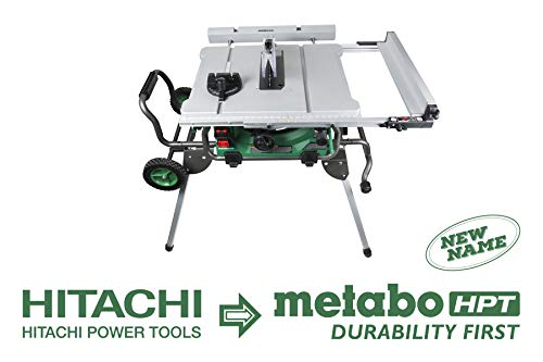 Metabo HPT C10RJ 10-Inch Jobsite Table Saw, Class-Leading 35-Inch Rip Capacity, Fold & Roll Stand, 8 x 13/16″ Dado Capacity, Portable and Lightweight, 2-Year Warranty
