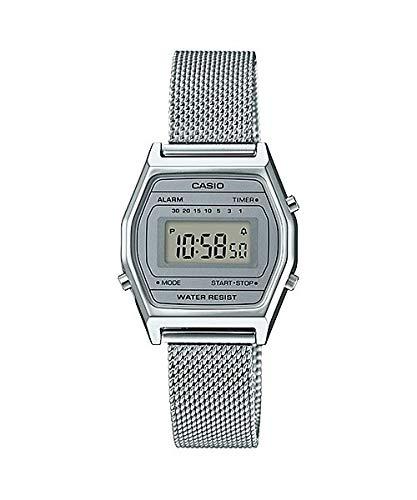 Casio LA690WEM-7 Women's Vintage Youth Silver Mesh Band Alarm Chronograph Digital Watch