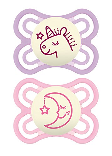 MAM Glow in The Dark Pacifiers, Baby Pacifier 0-6 Months, Best Pacifier for Breastfed Babies, Premium Comfort and Oral Care Perfect Collection, Girl, 2-Count