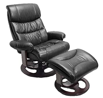 Swell Barcalounger Dawson Frampton Black Leather Pedestal Recliner Chair And Ottoman Andrewgaddart Wooden Chair Designs For Living Room Andrewgaddartcom