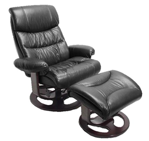 Barcalounger Dawson Frampton Black Leather Pedestal Recliner