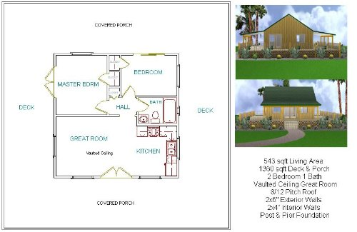Merveilleux 24x24 Cabin W/Covered Porch Plans Package, Blueprints, Material List    Woodworking Project Plans   Amazon.com