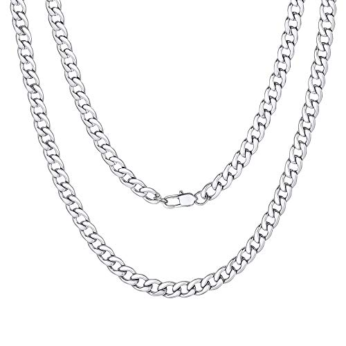 5mm Men Chain Silver Tone Stainless Steel Curb Cuban Link Necklace Gift (Silver Tone Link Chain)