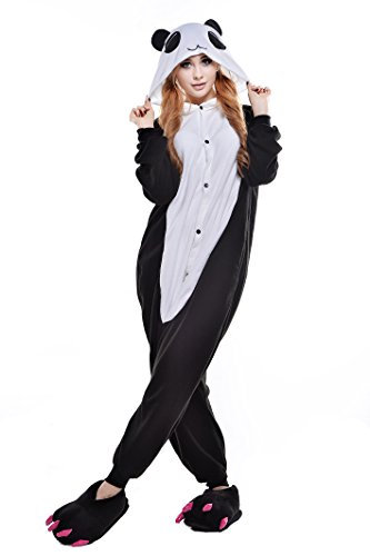 Newcosplay Unisex Adult Cosplay Pyjamas Halloween Cartoon Onesie Costumes (S, Red Eye Panda)]()