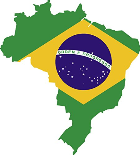 Map with flag inside brazil 4x4.5 sticker decal die cut vinyl - Made and Shipped in USA ()
